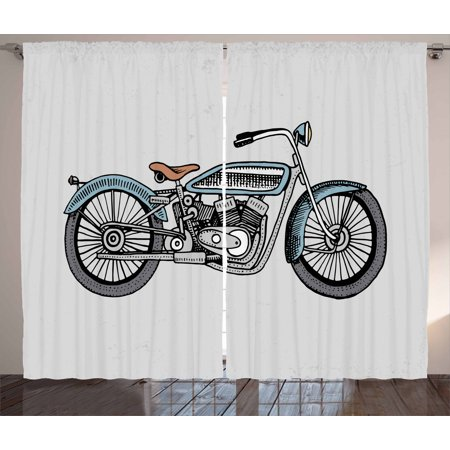 Motorcycle Curtains 2 Panels Set, Off Road Bike Motocross Racer Theme Transportation Rider Culture, Window Drapes for Living Room Bedroom, 108W X 84L Inches, Pale Blue Grey and Black, by Ambesonne Black Diamond Off Road