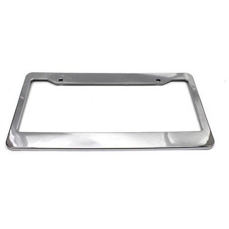 2Pcs Plastic (Chrome Stainless Steel Polished Metal Color) License Plate Tag Frame Holder Cover