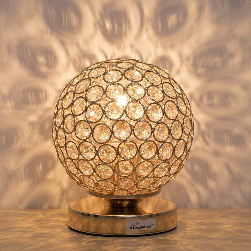 Haitral Gold Crystal Ball Table Lamp Vintage Modern Night