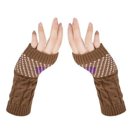 outdoorline 1 Pair Christmas Heart Typing Gloves Women Girls Arm Wrist Warmer Sleeves Winter Autumn Mittens - image 1 de 4