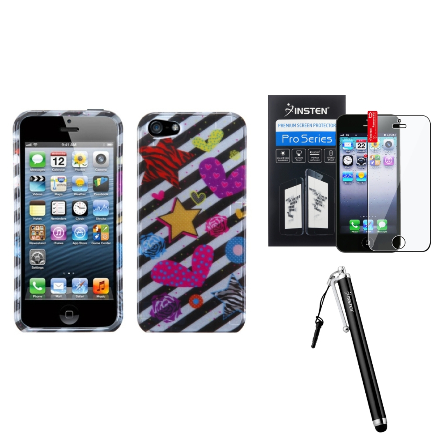 Insten Color Heart (2D Silver) Case For iPhone 5 / 5s + Stylus + Screen Guard