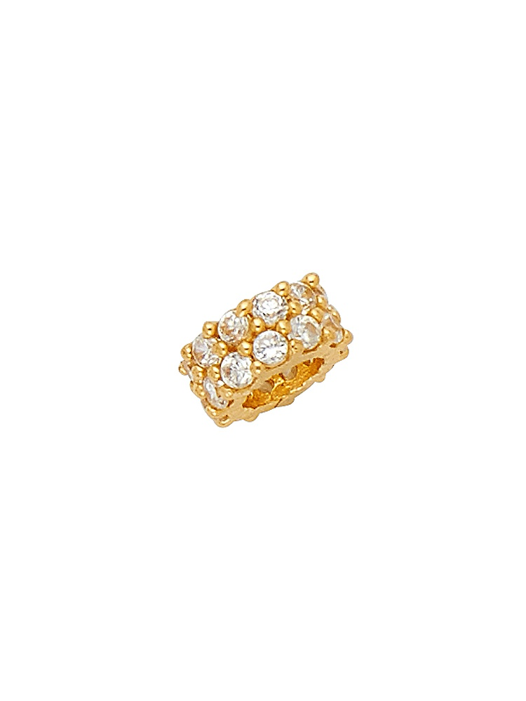 Bead Charm Pendant Solid 14k Yellow Gold Ring For Chain CZ Diamond Cut Style Polished Fancy