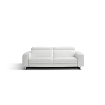 Whiteline Modern Living White Augusto Contemporary Top Grain Italian  Leather Sofa