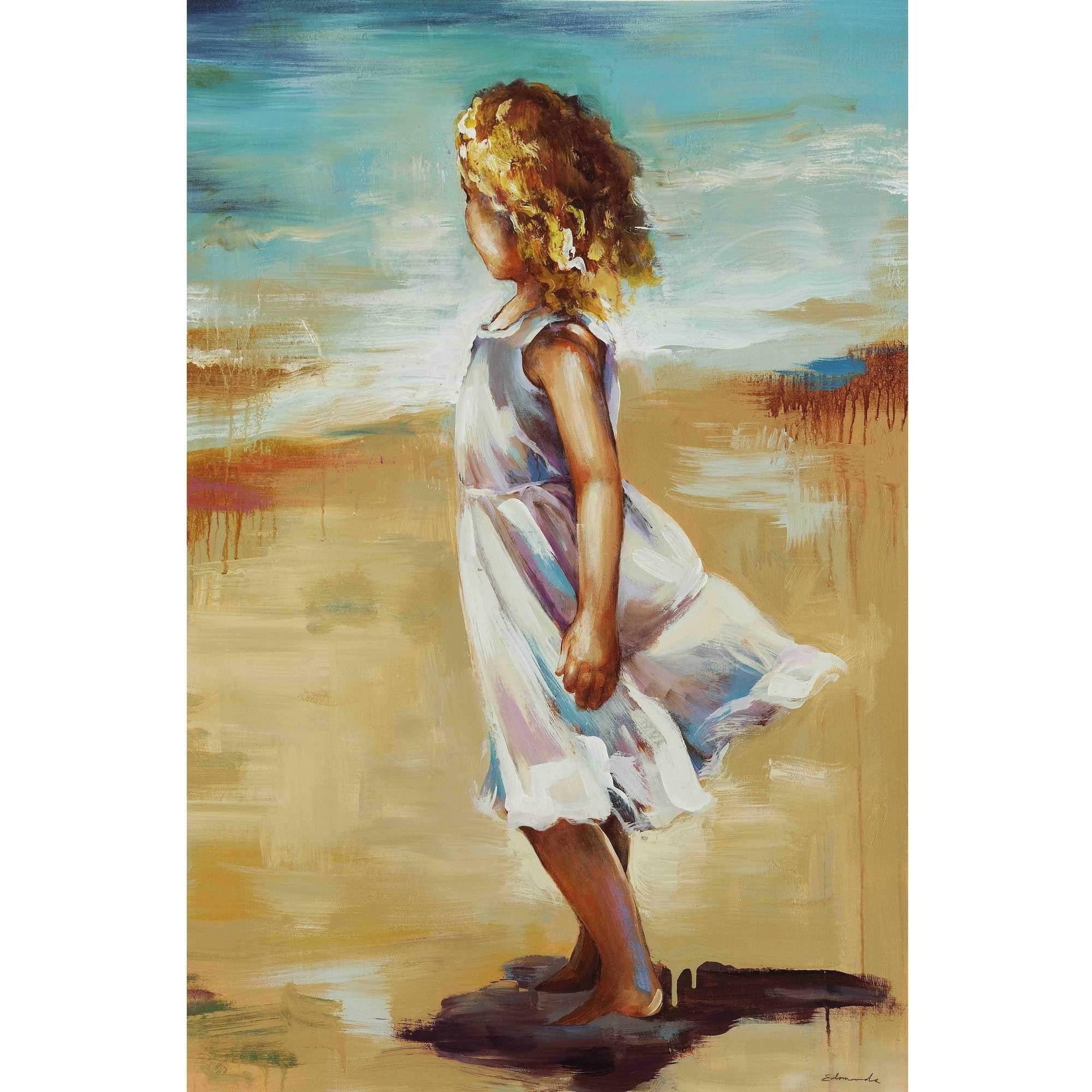 Girl At The Beach Framed Canvas Wall Art