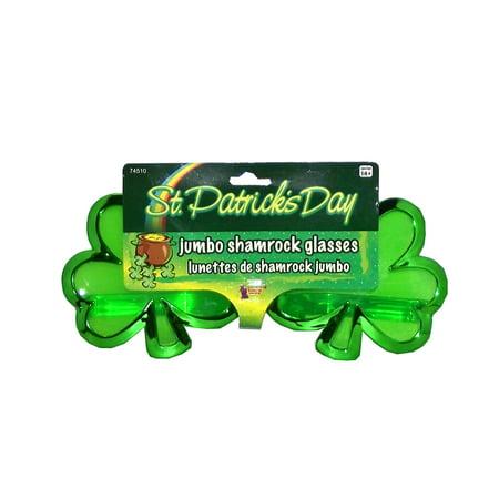 Forum Novelties St. Patrick's Day Jumbo Shamrock Party Glasses, One Size