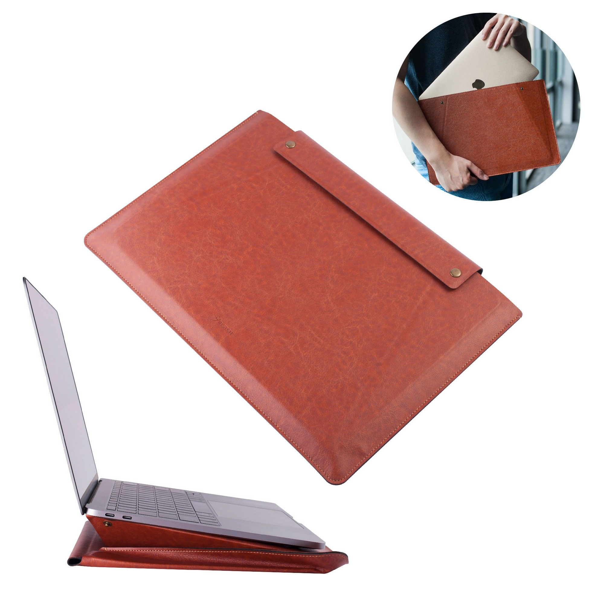 "Insten PU Leather Pouch Sleeve Bag Case Cover w/Stand for 13.3"" Apple MacBook Laptop Notebook Tablet Device - Brown"