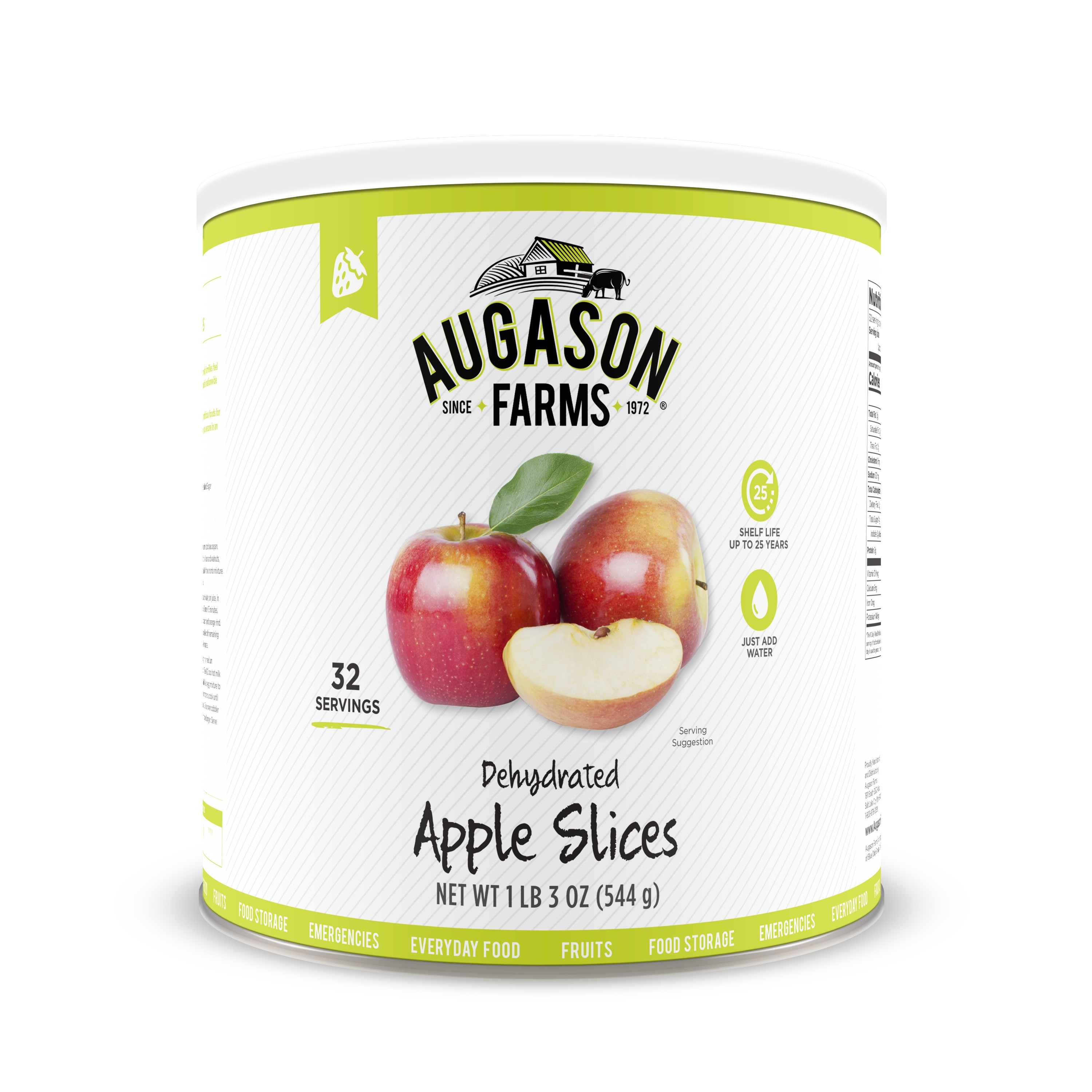 Click here to buy Augason Farms Dehydrated Apple Slices 1 lb 3 oz No. 10 Can by Blue Chip Group.