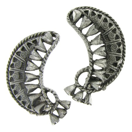 Crescent Shaped Antiqued Silver Tone Clip On (Silver Tone Clip)