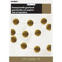 Tissue Paper Honeycomb Ball Garland, 7 ft, Gold, 1ct
