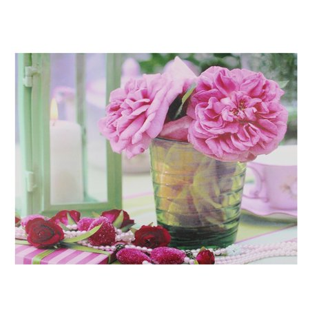 Led Flowers (LED Lighted Flickering Candle and Pink Rose Flowers Glass Candles Canvas Wall Art 11.75