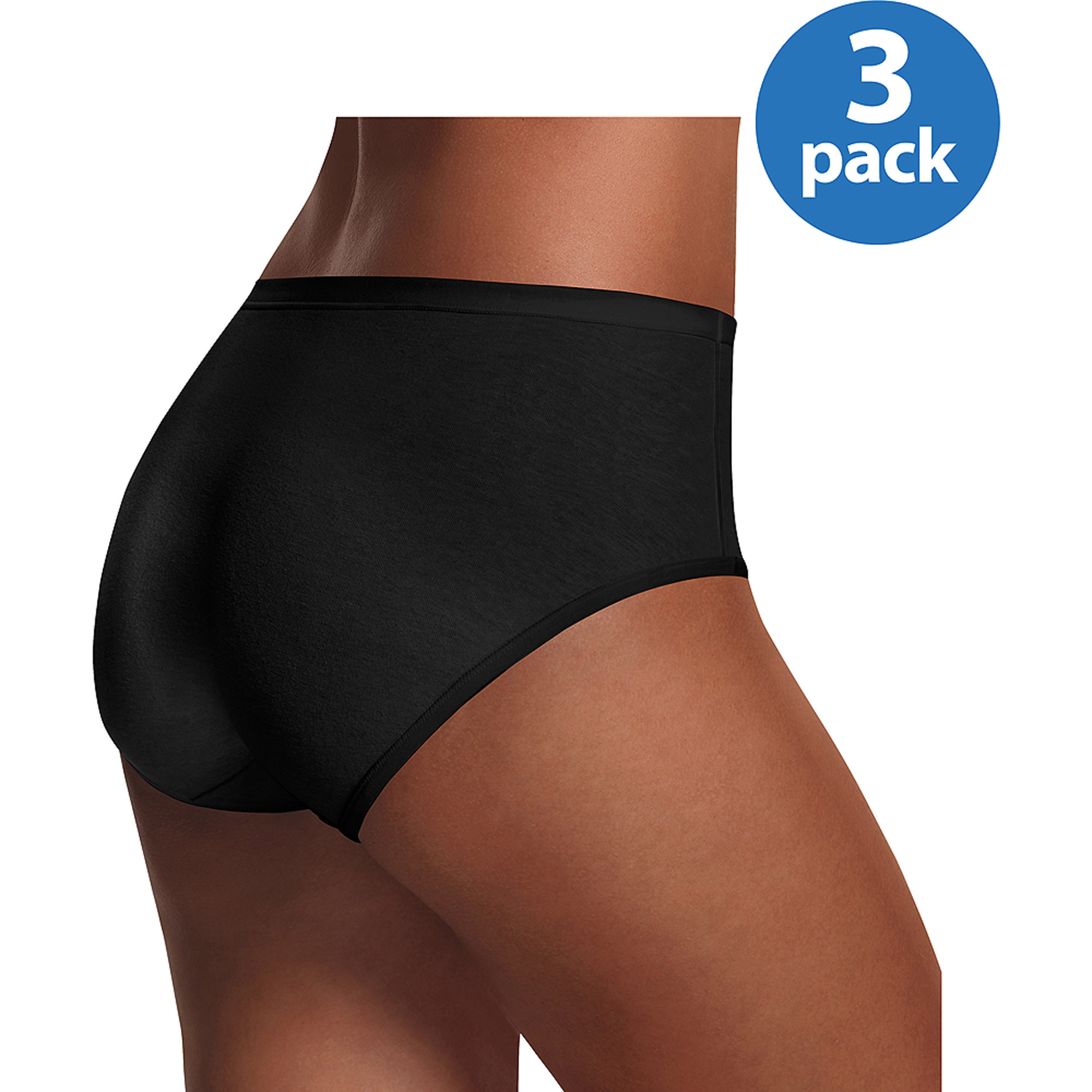 Hanes Women's No Panty Lines ComfortBlend Low Rise Brief 3 Pack