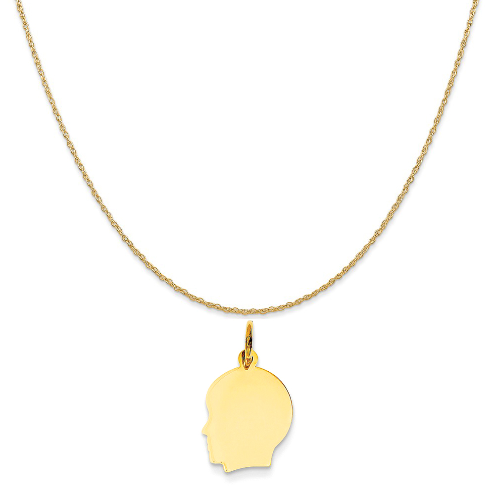 """14k Yellow Gold Plain Small .027 Gauge Facing Left Engravable Boy Head Charm on Rope Necklace, 18"""""""