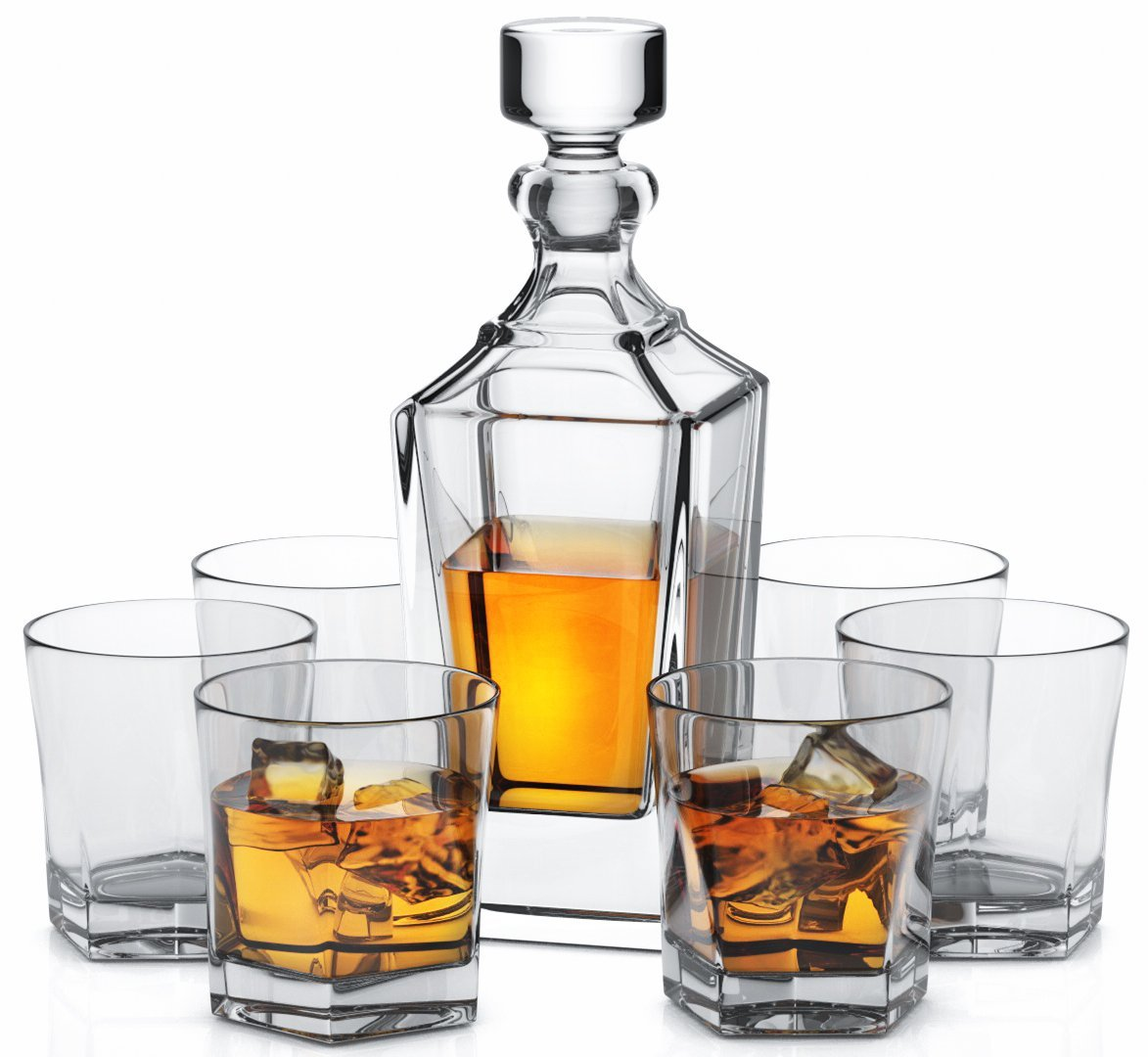 miko crystal whiskey decanter set with 6 double old. Black Bedroom Furniture Sets. Home Design Ideas