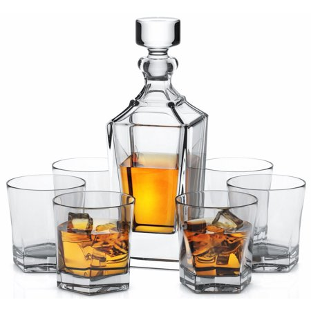 Miko Crystal Whiskey Decanter Set With 6 Double Old Fashioned Whiskey Glasses - (Footed Decanter)
