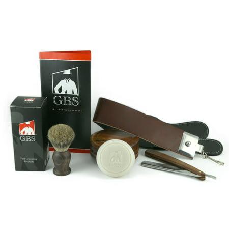 5 Piece Shaving Set - Soap, Wood Bowl, Wood Straight Razor and Wood Badger Brush