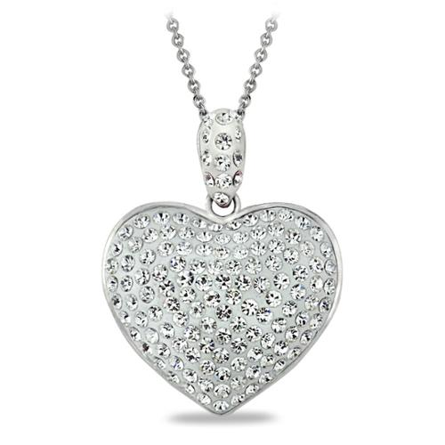 Silver Tone Clear Crystal Heart Necklace with Swarovski Elements