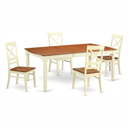 East West Furniture Dover 5 Piece Extension Rectangular Dining Table Set With Quincy Wooden Seat Chairs