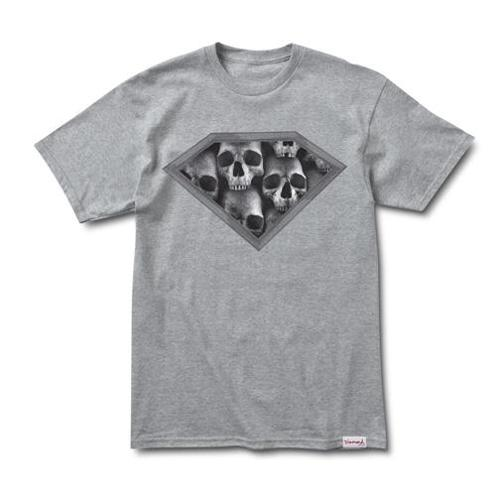 DIAMOND Skateboard T Shirt DMND SKULLS HEATHER SS Size L
