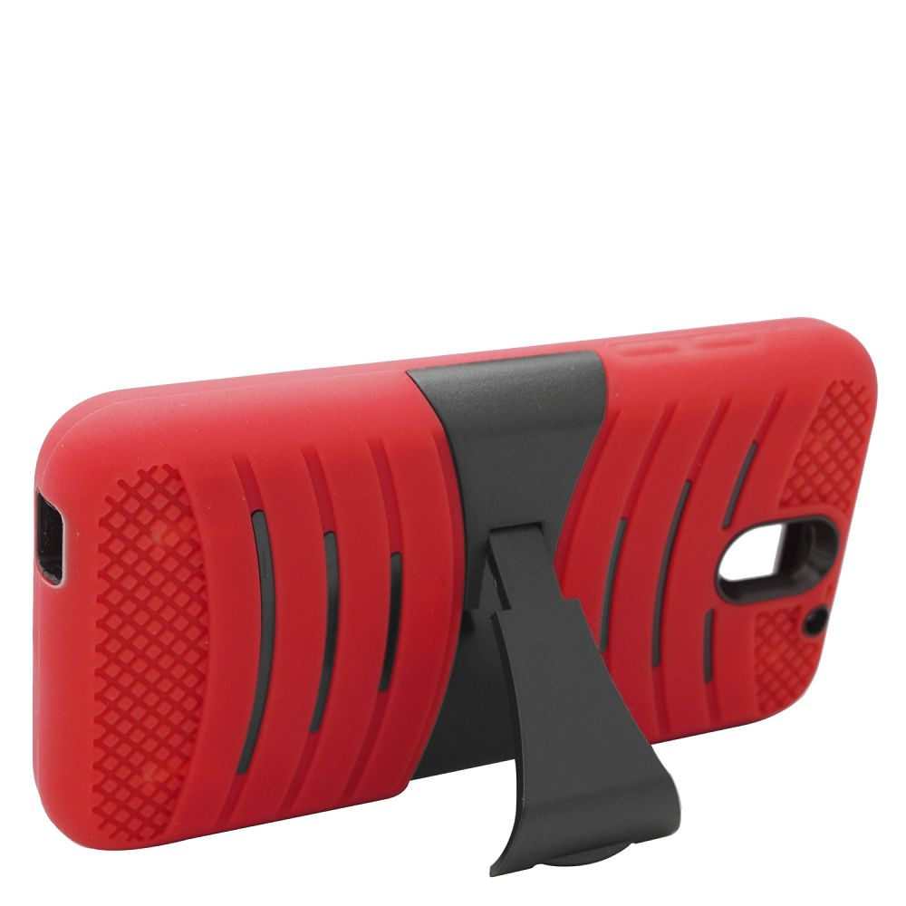 EagleCell Wave Symbiosis Gel Hybrid Rubber Hard Stand Case For HTC Desire 610 - Red/Black