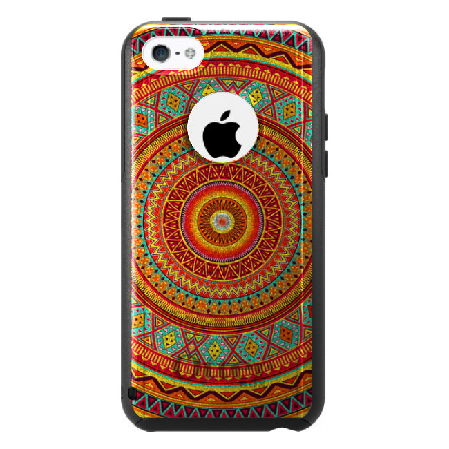 DistinctInk™ Custom Black OtterBox Commuter Series Case for Apple iPhone 5C - Orange Teal Yellow Tribal Print