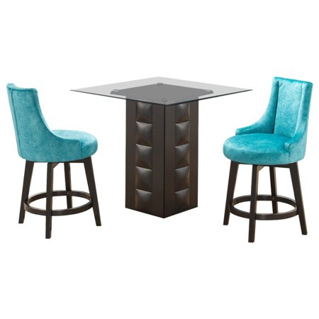 Fabulous Walden 3 Piece Counter Height Kitchen Dining Set 40 Square Pedestal Cappuccino Wood Table 2 Light Blue Swivel Stools Ibusinesslaw Wood Chair Design Ideas Ibusinesslaworg