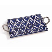 Zodax Mazagan Hand Painted Serving Tray in Blue