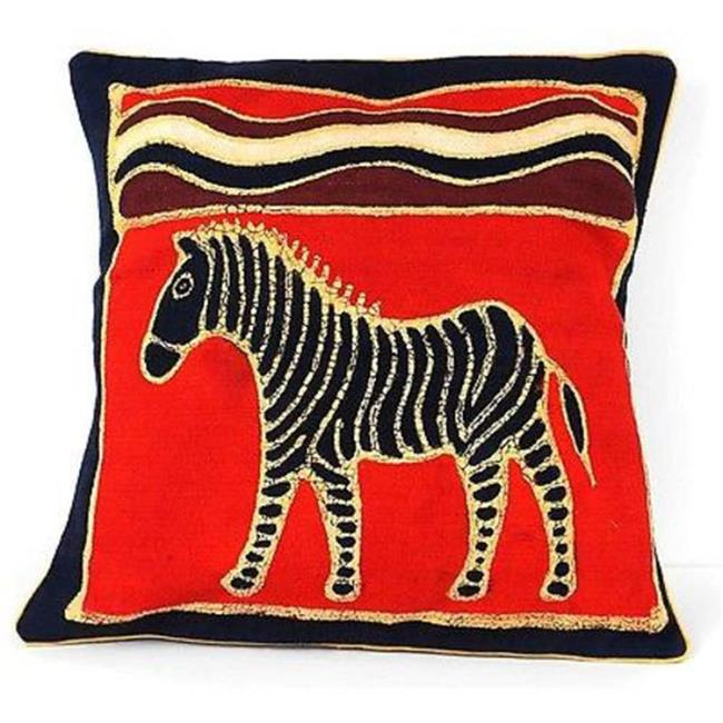 Tonga Textiles Handmade Red Zebra Batik Cushion Cover