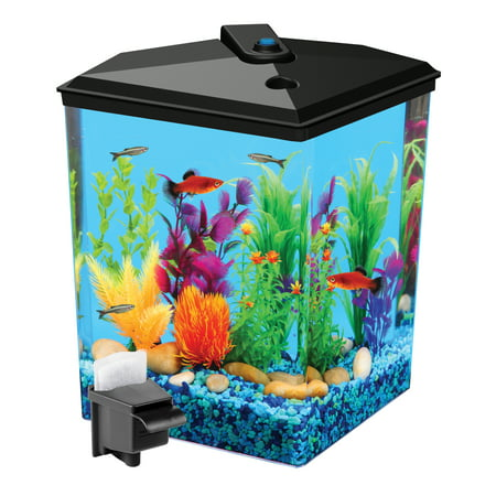 Aquarium Lighted Fish Tank - Aqua Culture 2.5-Gallon Corner Aquarium Starter Kit with LED Light and Power Filter