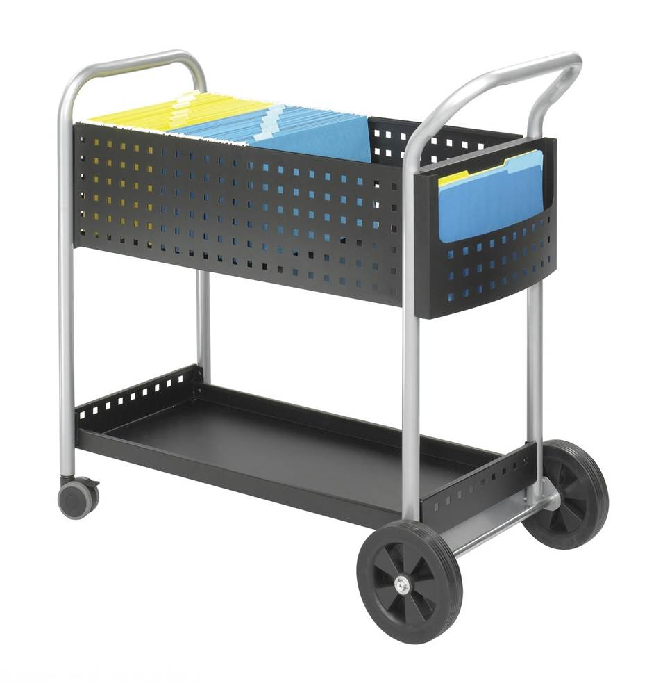 32 in. Scoot Mail Cart in Black Finish