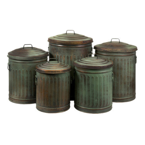 Wildon Home   5 Piece Leva Verdigris Storage Can Set in Copper