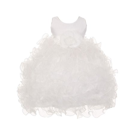 Baby Girls White Satin Sash Ruffles Flower Girl Special Occasion Dress 24M