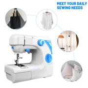 Multifunction Electric Sewing Machine with 19 Stitches Foot Pedal LED Lighting for Advanced Sewer or Beginner (727 Blue)