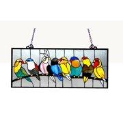CHLOE Lighting BIRDIES Tiffany-glass featuring Birds Window Panel 25.5x10.5