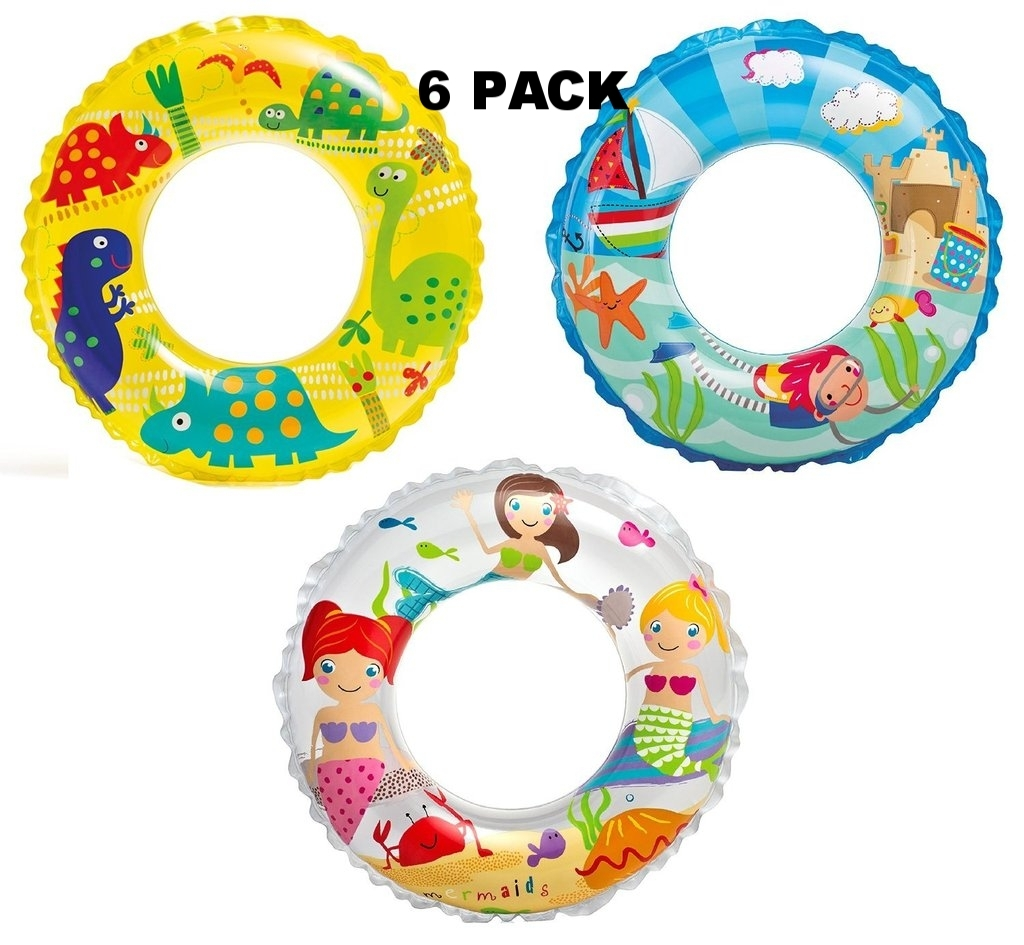 "Intex Recreation 59242EP 24"" Ocean Reef Transparent Rings 6 Pack"