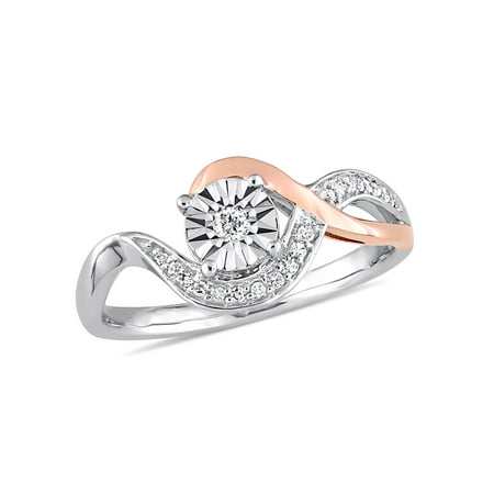 - 1/10 Carat Diamond 10kt Two-Tone Gold Swirl Promise Ring