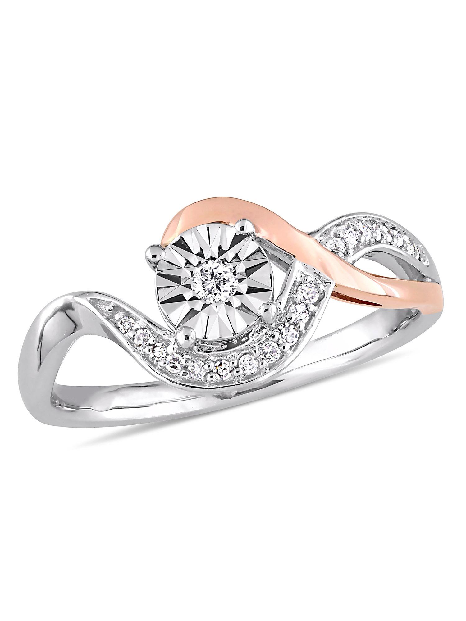 1/10 Carat Diamond 10kt Two-Tone Gold Swirl Promise Ring