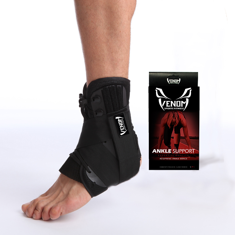 Venom Sports Fitness Ankle Brace Lace Up Support w/ Side Stabilizers & Velcro Straps - Black