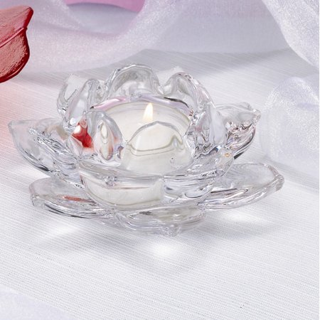 Biedermann and Sons Lotus Glass Tea Light Candle Holder