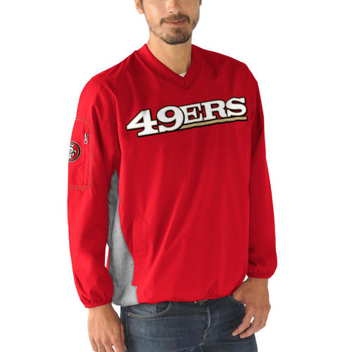 Men's G-III Sports by Carl Banks Scarlet San Francisco 49ers Gridiron V-Neck Pullover Sweatshirt