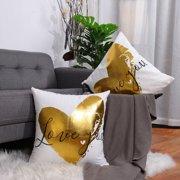 "Piccocasa 2 Piece Bronzing Flannelette Decorative Throw Pillow Cover18"" x 18""Heart Print"