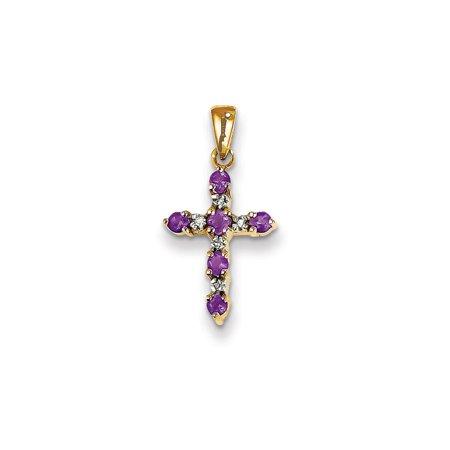 Roy Rose Jewelry 14K Yellow Gold 1/5-Carat tw Amethyst & Diamond Accent Cross Pendant
