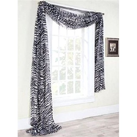 1 PC PRINTED GREYISH ZEBRA SCARF VALANCE SOFT SHEER VOILE WINDOW PANEL CURTAIN 216