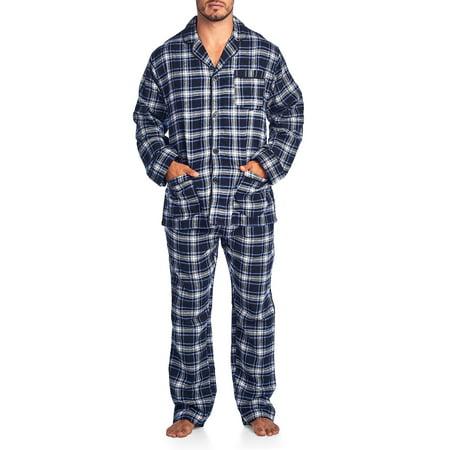 Ashford & Brooks Mens Flannel Plaid Pajamas Long Pj Set