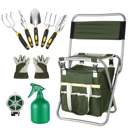 (10 Piece Gardening Tool Set Folding Stool with Tool Bag and 5 Gardening Tools ECLINK)