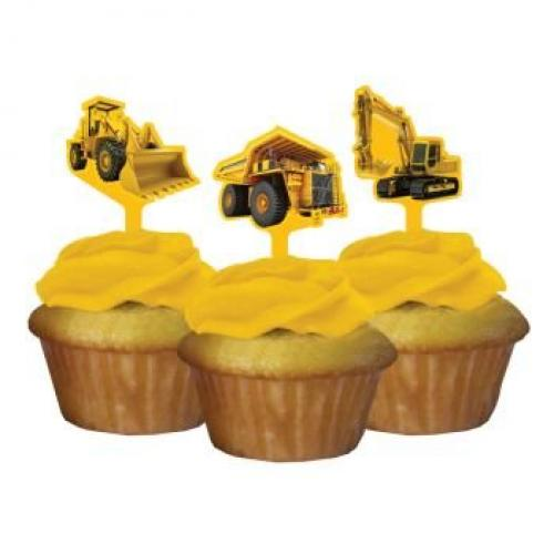 Construction Zone Party Pick Cupcake Decorations (12 ct) (Wooden Party Picks)
