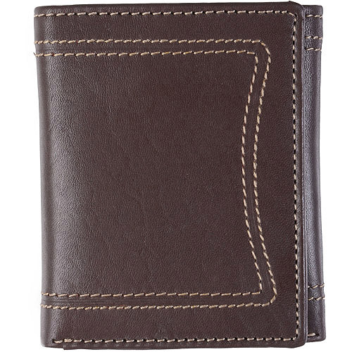 Daxx Men's Topstitched Tri-fold Genuine Leather Wallet