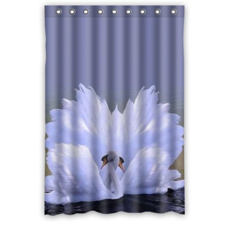 MOHome White Swan Shower Curtain Waterproof Polyester Fabric Size 48x72 Inches