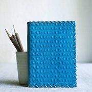 Handmade Leather Journal Diary Blank Personal Composition Notebook Travel Record Book Sketchbook Unlined Pages Office Paper Supplies (Blue)