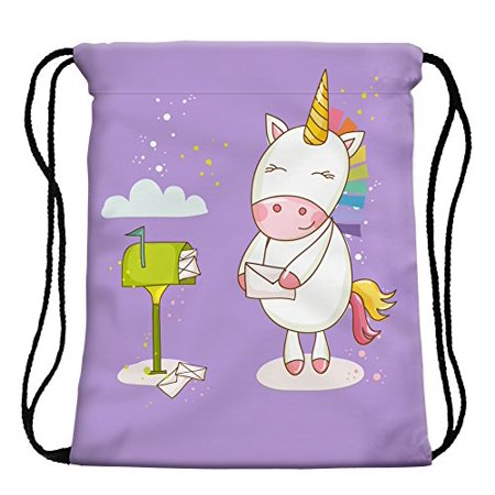 e460b2ea1036 StylesILove My Unicorn World Graphic Print Gym Girls Womens Drawstring  Backpack (Mailbox Purple)