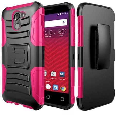 [World Acc] For Alcatel Walters Case / Alcatel Fierce (2017) Case Advanced Armor Hybrid Soft Silicone Cover Plastic Kick Stand w/ Holster (Stand Accs Kit)